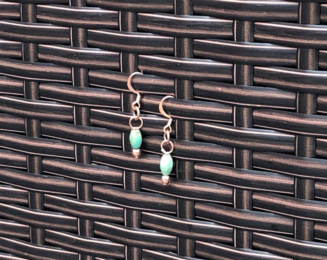 Oval Turquoise & Simple Copper Earrings
