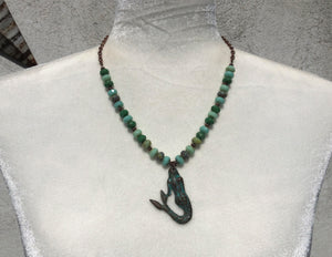 Patina Mermaid, Green Picasso Faceted Czech Glass & Copper Necklace - AVAIL FOR SPECIAL ORDER