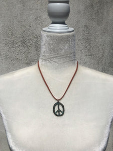 Patina Rustic Peace Sign & Terracotta Faux Leather Necklace