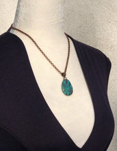 Pear Shaped Turquoise Solitaire & Genuine Copper Necklace