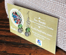 Peridot Green Glass & Silver Filigree Earrings