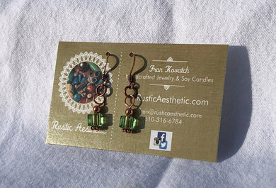 Peridot Swarovski Crystal & Copper Earrings