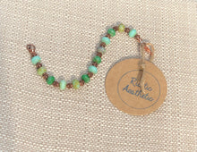 Green Picasso Faceted Czech Glass & Copper Bracelet