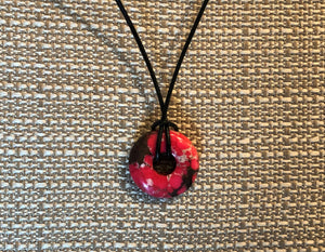 Pink Magnesite Solitaire on Black Leather Cord Necklace