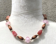 Pink Lampwork Glass, Silver & Wood Necklace