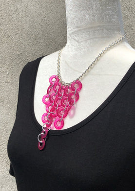 Fuchsia Link & Silver Necklace