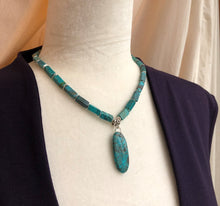 Rectangular Turquoise & Silver Wavy Bead Necklace