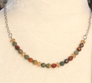 Red Creek Jasper & Colorado Topaz Swarovski Necklace