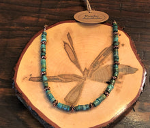 Rondelle Turquoise & Copper Floral Necklace