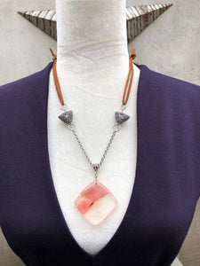 Salmon Agate, Silver & Cafe au Lait Leather Necklace