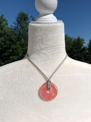 Salmon Agate and Dove Grey Faux Leather Boho Necklace