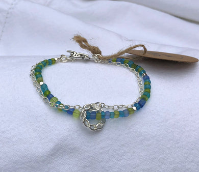 Sea Glass Japanese Seed Bead, Silver Chain & Ring Bracelet