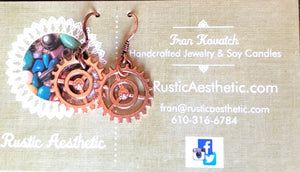 Shiny Copper Gear Earrings