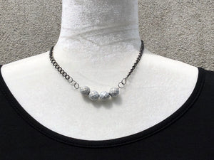 Silver White Czech Glass & Gunmetal Necklace