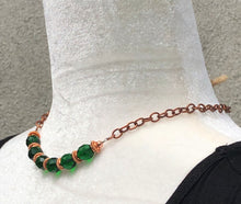 Emerald Green Czech Glass & Copper Necklace
