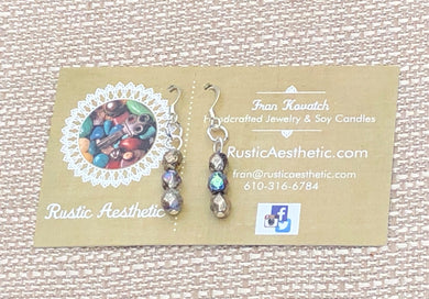 Silver Rainbow Etched Czech Glass Earrings