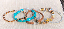Silver Seed Bead, Crazy Agate, Terracotta Faux Leather, Turquoise Blue & Amber Seed Bead Stackable Bracelet Set