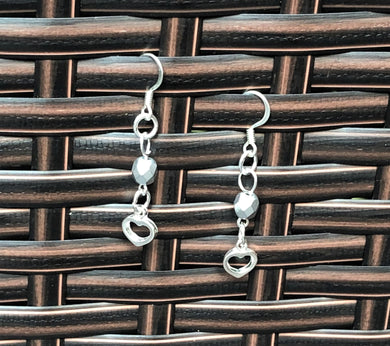 Matte Silver Czech Glass & Silver Open Heart Earrings