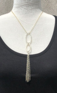 Antique Silver Link & Tassel Necklace
