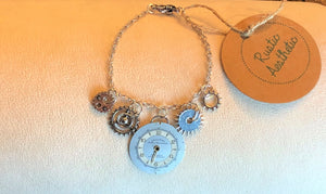 Silver Vintage Watch Face & Gear Charm Bracelet