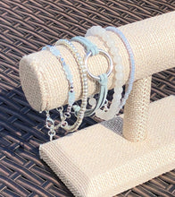 Sky Blue Quartz, Silver Seed Bead, Dusty Blue Faux Leather, Snow Quartz & Light Blue Seed Bead Stackable Bracelet Set