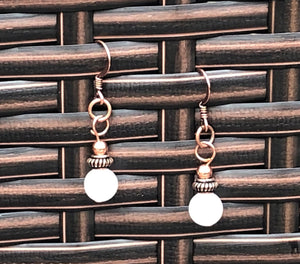Snow Quartz & Copper Earrings