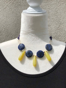 Sodalite Coin, Olive Jade Dagger, Sterling Silver & Leather Necklace
