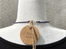 Sodalite Coin, Olive Jade Dagger, Sterling Silver & Faux Leather Necklace