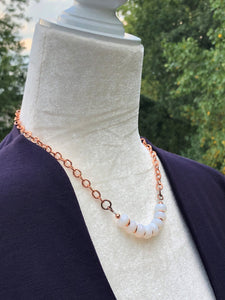 Moonstone Czech Glass & Sparkly Copper Necklace