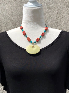 Sponge Coral, Yellow Agate & Turquoise Blue Necklace