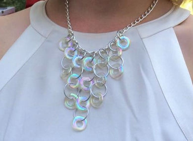 Iridescent Link & Silver Necklace