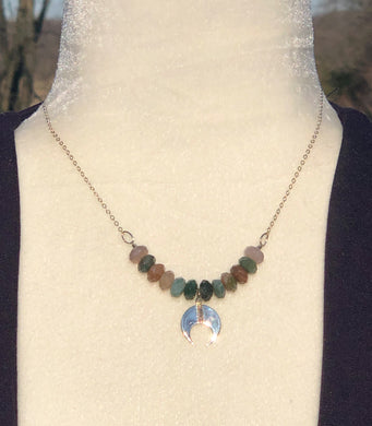 Sterling Silver Double Horn & Fancy Jasper Necklace
