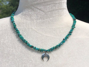 Sterling Silver Double Horn & Turquoise Necklace