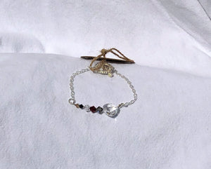 Mixed Swarovski Faceted Crystal Heart & Silver Bracelet