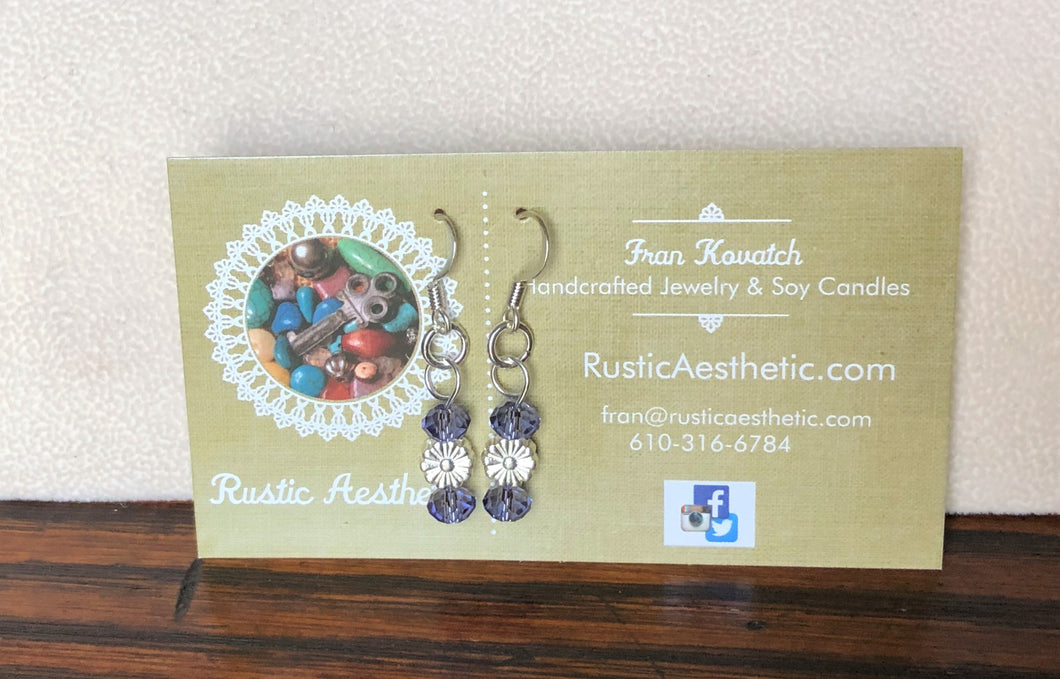 Tanzanite Swarovski Crystal & Silver Flower Earrings