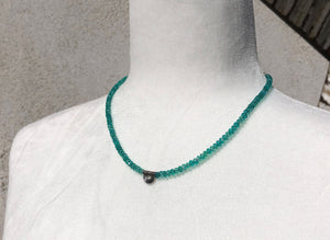 Teal Czech Glass & Sterling Silver Bali Scallop Necklace