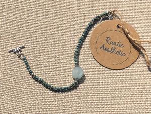 Teal Pyrite & Lampworked Glass Flower Bracelet