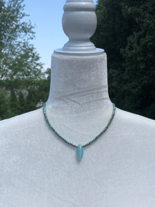 Teal Pyrite & Lampworked Glass Necklace