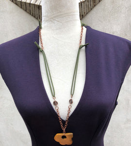 Tiger Eye, Faux Leather & Copper Necklace