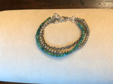 Triple Strand Turquoise, Opalescent Czech Glass & Antique Silver Rolo Chain Bracelet