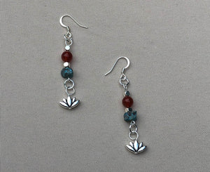 Mesa Turquoise & Carnelian Lotus Charm Earrings