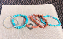 Turquoise Blue, Goldtone Chips, Universal Washer on Terracotta Faux Leather & Silver Seed Bead Stackable Bracelet Set
