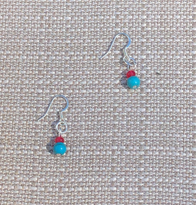 Turquoise Blue & Candy Pink Quartz Earrings