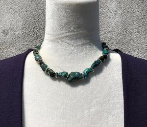 Turquoise Polished Nugget & Silver Choker Necklace