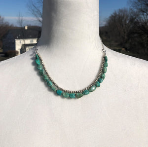 Turquoise Pyrite & Antique Silver Double Strand Necklace