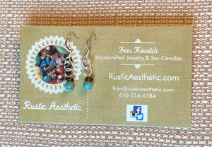 Turquoise & Bronze Czech Glass Earrings