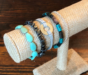 Turquoise, Hematite, Silver & Grey Stackable Bracelet Set of 5