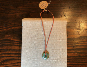 Turquoise, Terracotta Faux Leather & Copper Boho Necklace
