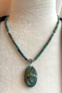 Turquoise & Silver Bali Bead Necklace