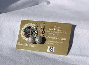 Silver White Czech Glass Earrings